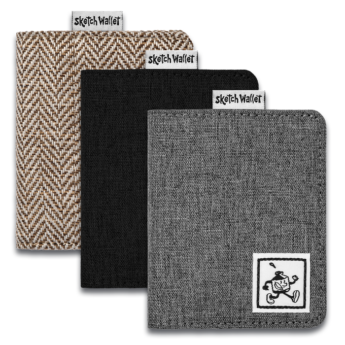 Small fabric wallets come in brown tweed or black and gray canvas