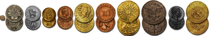 Coins arranged in a historical timeline of oldest to most recent