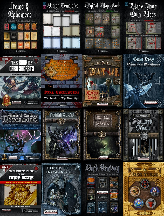 Some of DARK BY DEZIGN'S Fantasy RPGs Publications and Projects.