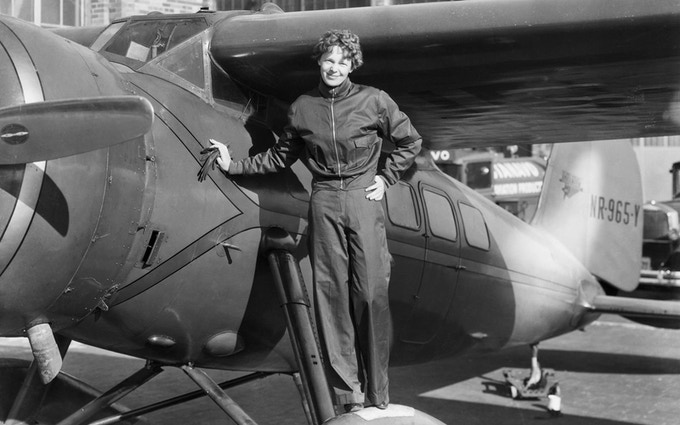 Harbour Grace, Newfoundland, 1932, Amelia poses in front of her Lockheed Vega 5B before taking off
