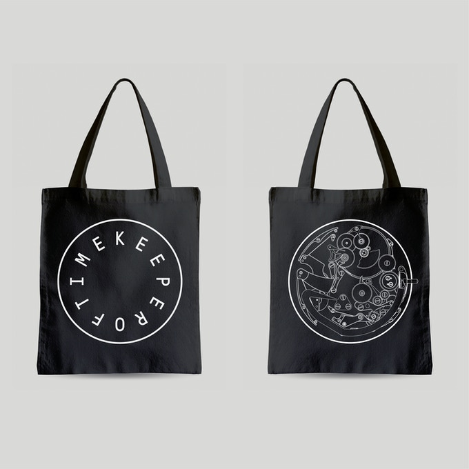 Two high quality canvas tote bags featuring diagrams by famed independent watchmaker François-Paul Journe. Choose between two different designs. Black (shown here) or white (below).