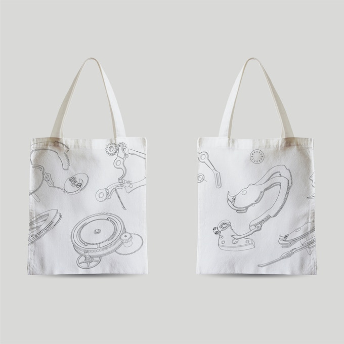 White tote bag.