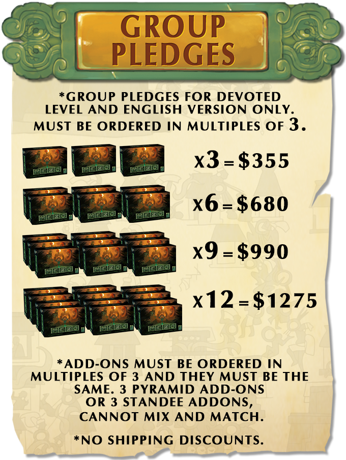 Group pledges must be manually entered through the DEVOTED pledge. Mutiply shipping costs times the amount of copies you would like. All group pledges must be in a multiple of three.