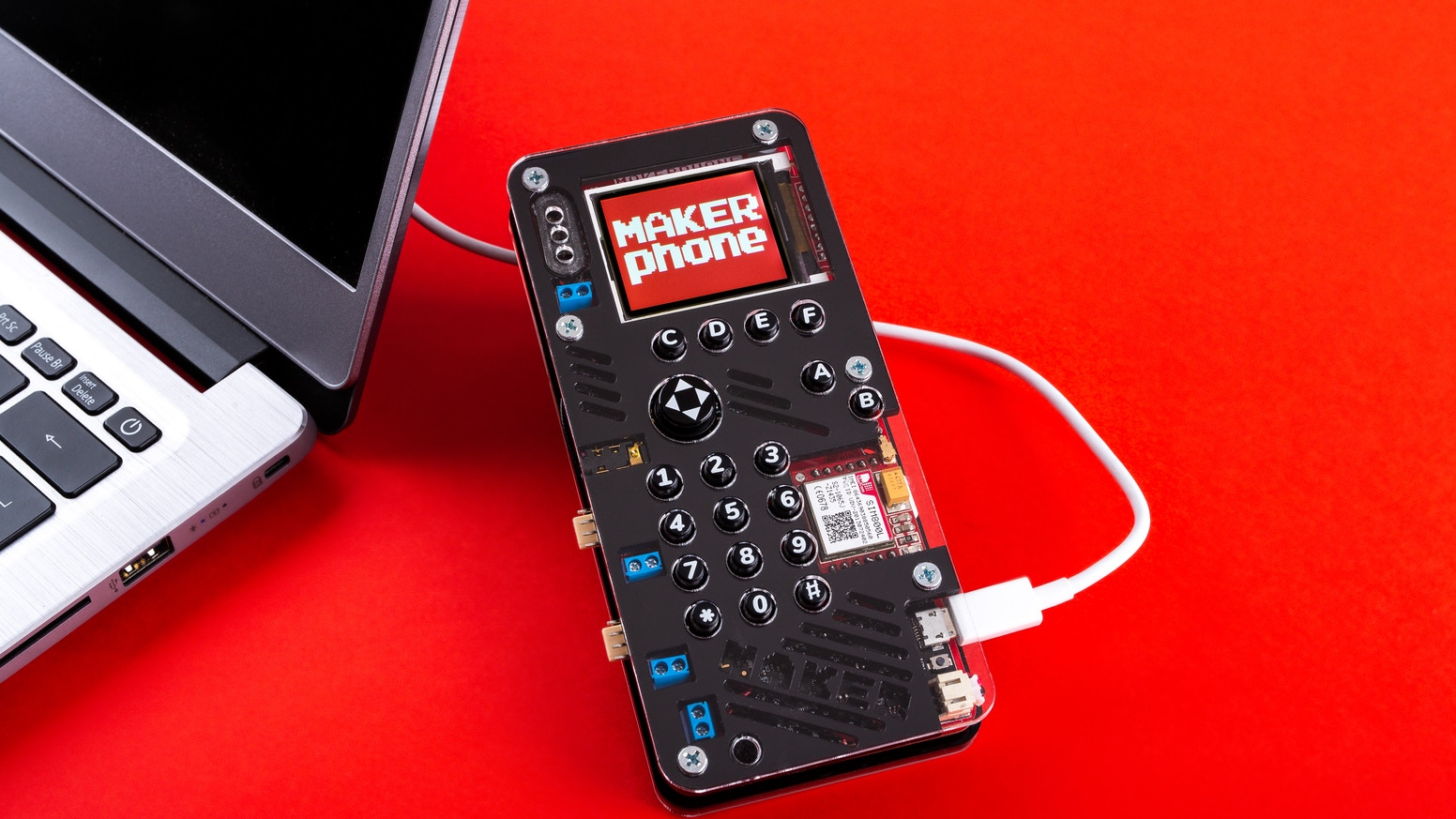 MAKERphone is an educational DIY mobile phone designed to bring electronics and programming to the crowd in a fun and interesting way.