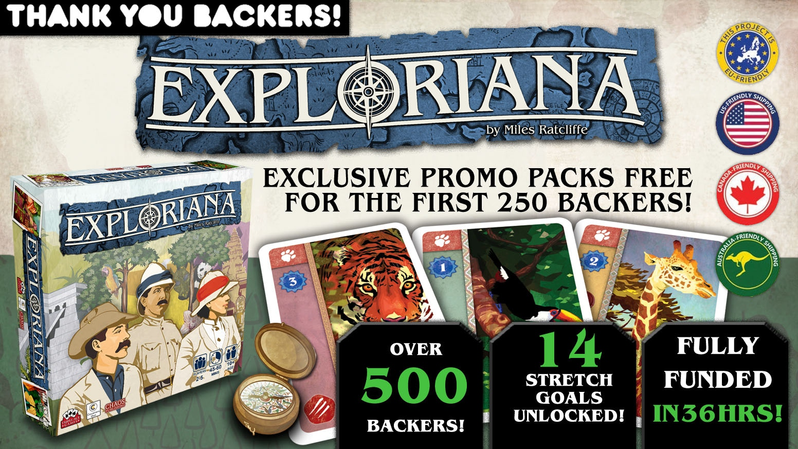 Exploriana is a tense, exciting push your luck game. Set during the Victorian age of wonder, it's easy to learn & packed with strategy!
