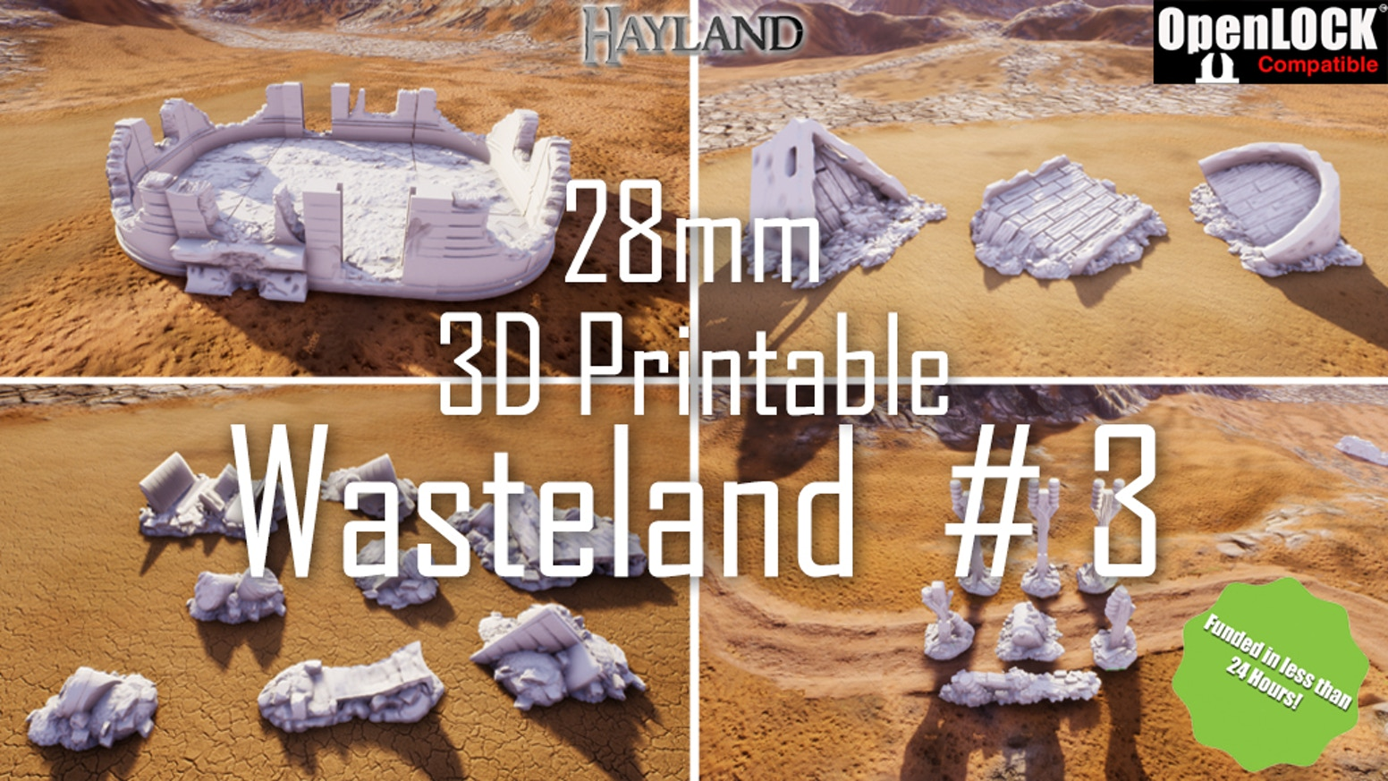 28mm 3D Printable Wasteland #3- OpenLOCK - STL by Hayland Terrain