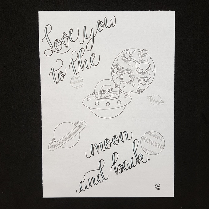 """Alien on the Moon - available in 5 x 7"""" or 8 x 10"""""""