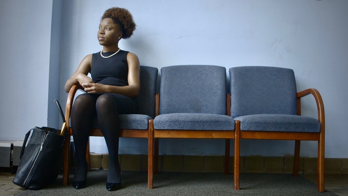 Mayoral candidate Myya Jones (D) waits at the Detroit Board of Elections.