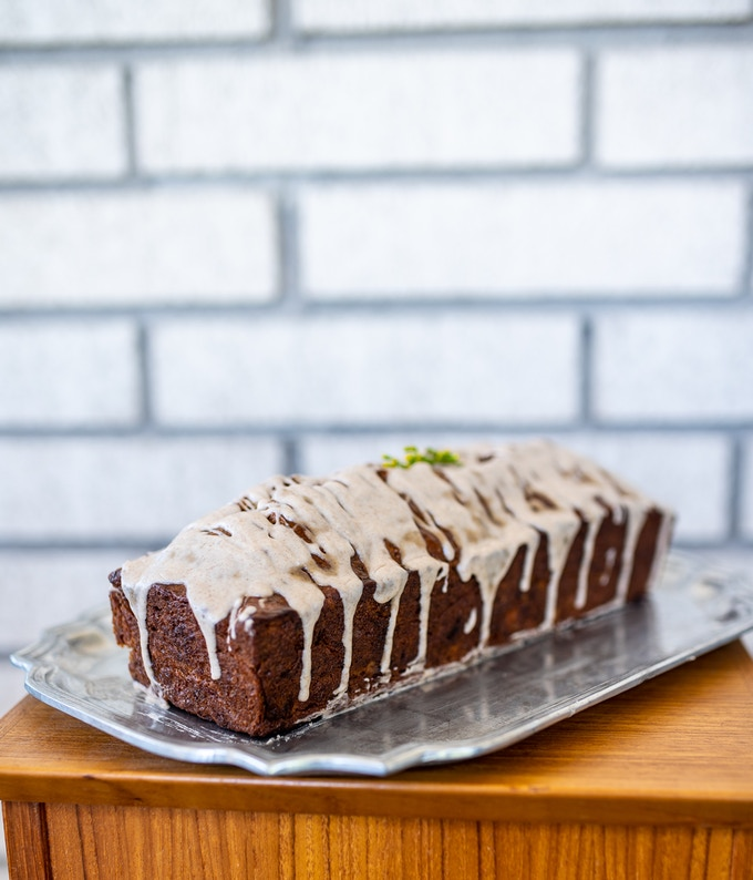 Banana bread with browned butter glaze.