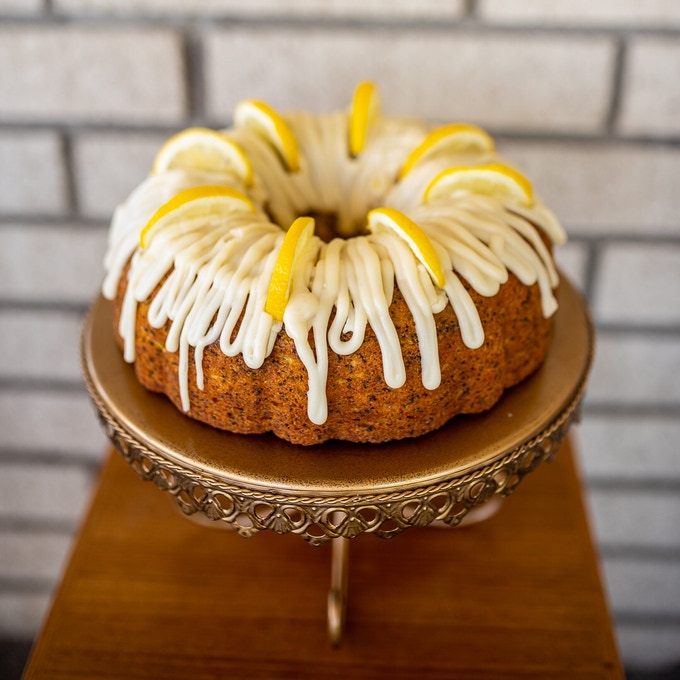 Lemon poppyseed bundt cake.