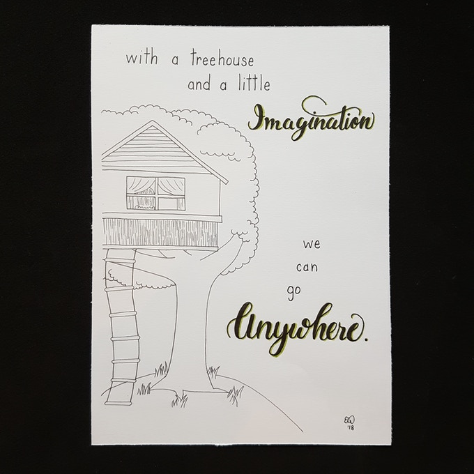 """Imagination Treehouse - illustration from the book - available in 5 x 7"""" or 8 x 10"""""""
