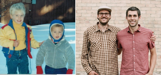 Chris (left) and Greg (right) then and now.