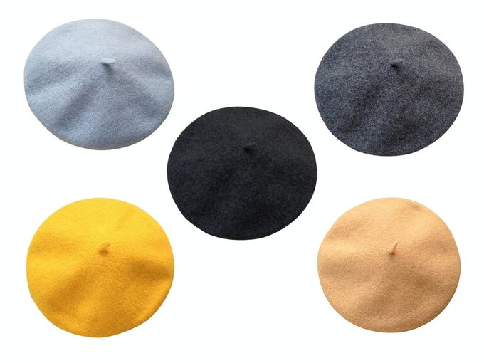 100% Wool Berets - Powder Blue, Black, Heather Charcoal, Yellow and Light Camel