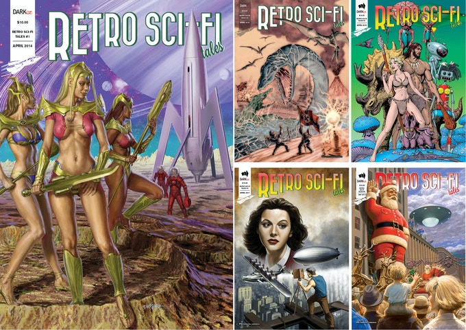 Issues 1 to 5 of Retro Sci-Fi Tales