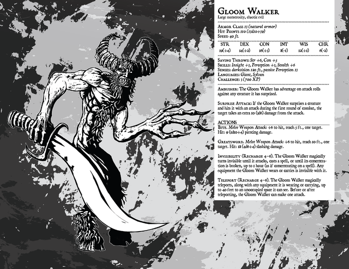 39th monster in the series. The Gloom Walker. Stat page.