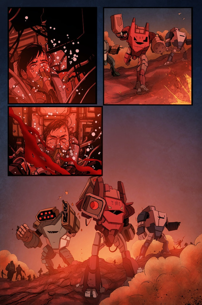 From 'Battlesuit': written by Neil Gibson and David Court, illustrated by Phil Buckenham, colours by Liezl Buenaventura