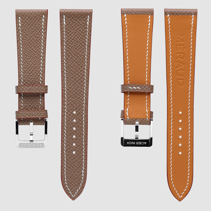 "Taupe leather strap, fits the ""Graphite Grey""."