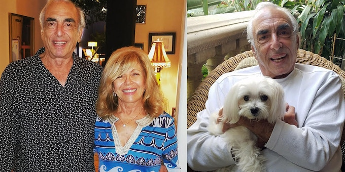 Billy with the loves of his life. L:  with his life partner Peggy; R: with his best buddy Chance