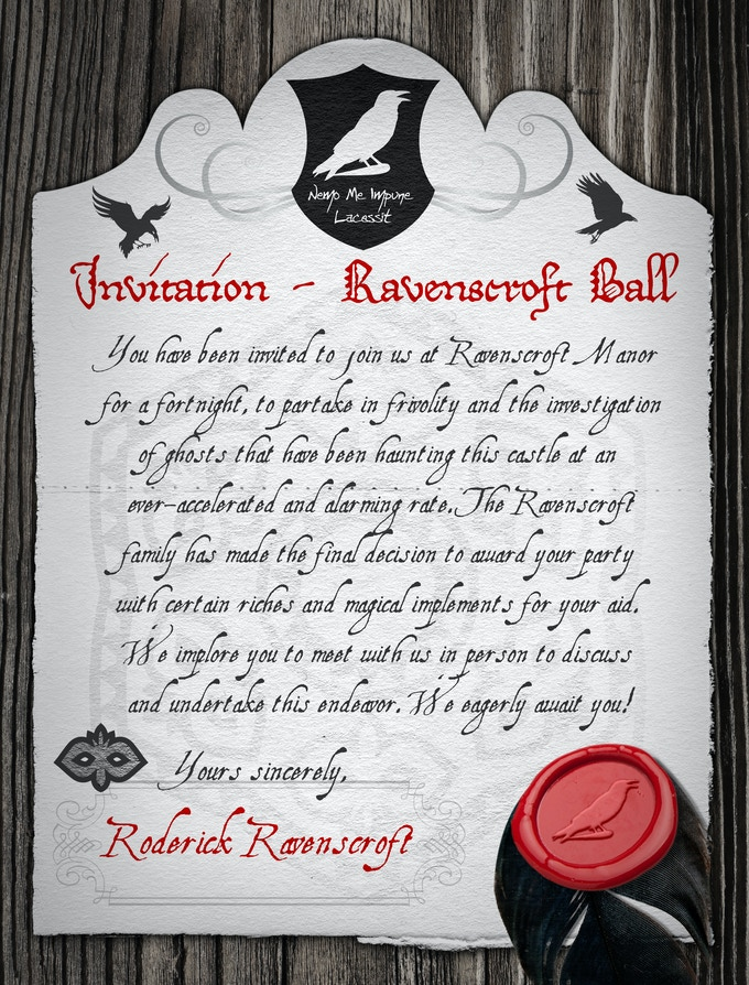 The Mysterious (one of MANY player handouts) INVITATION To The Ravenscroft Manor Masked Ball