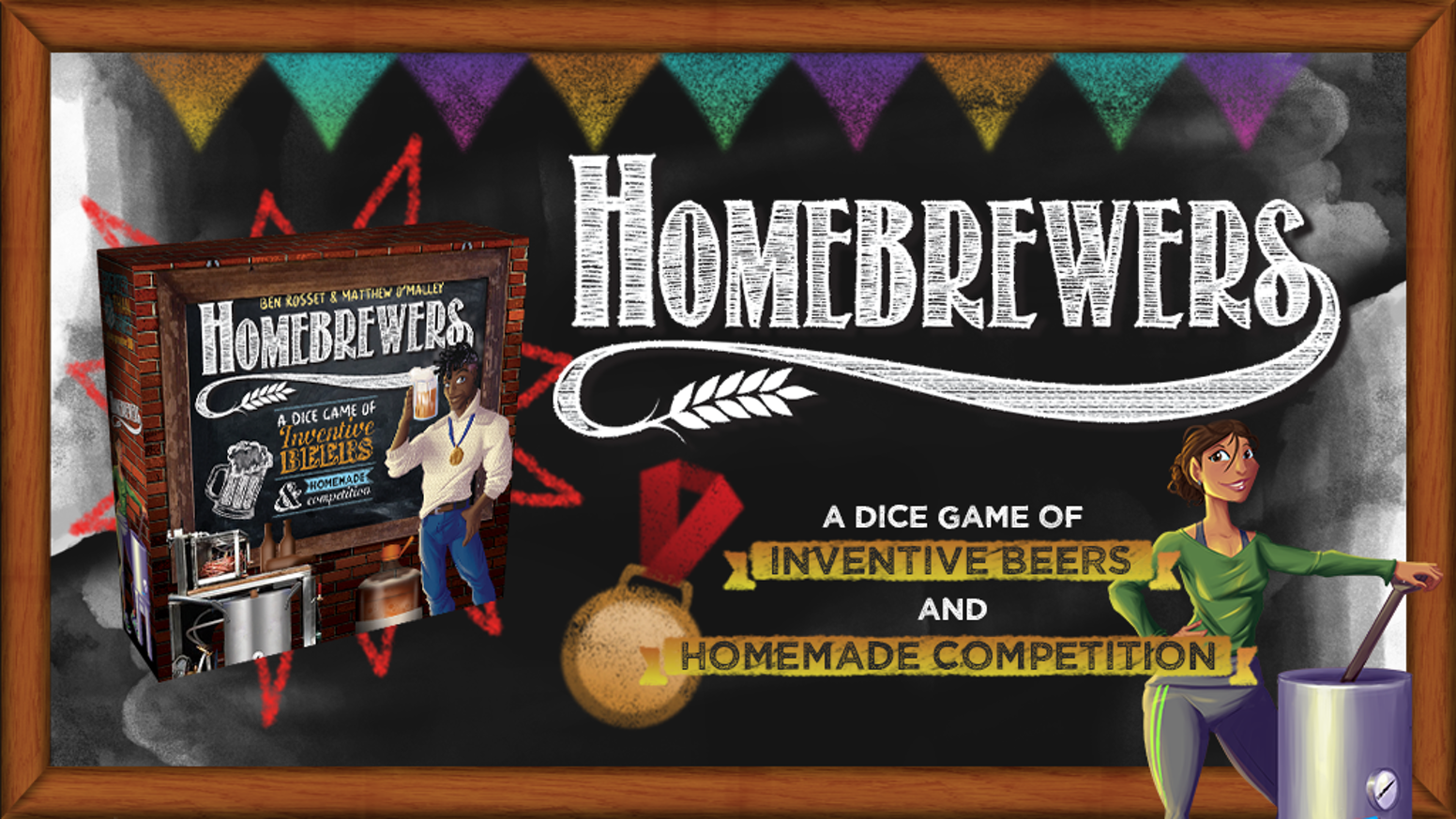 Homebrewers is a dice-rolling and recipe-crafting game of homemade competition and fun. Come see what we've got brewing!