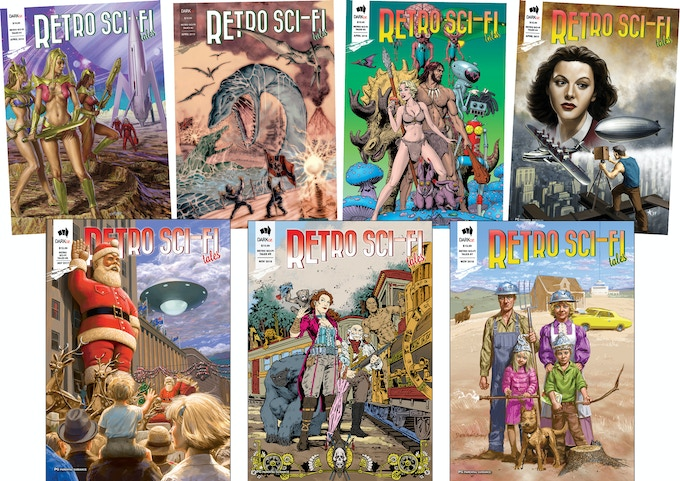 Retro Sci-Fi Tales - front covers 1 to 7