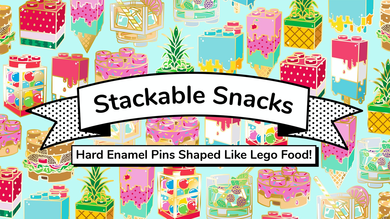 Colourful enamel pins of your favourite food items in the form of lego blocks!