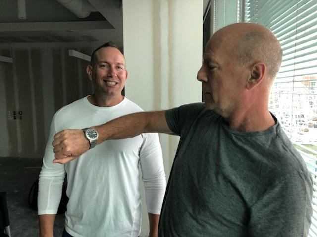 Sizing watch for Bruce Willis on set of new movie