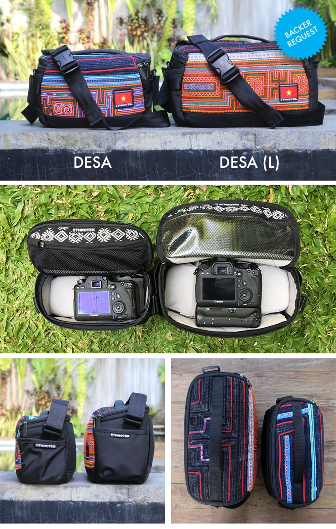 Desa L is the same exact design as the smaller Desa M, it's just a little bigger, to fit bigger camera gear.