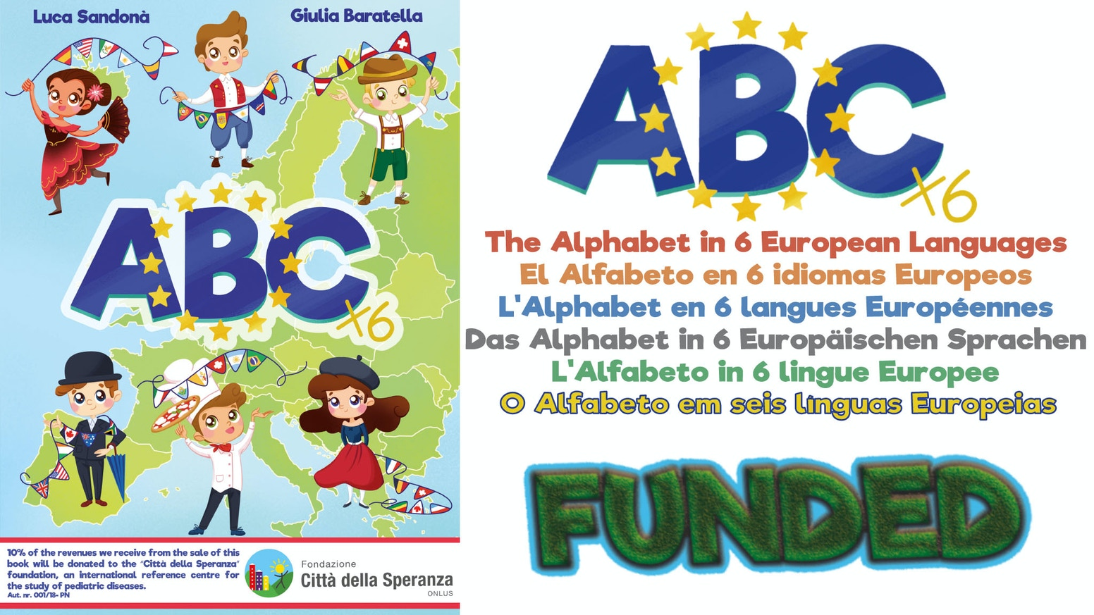 ABC - Alphabet book in 6 languages, learn letters and stimulate children's curiosity for languages.
