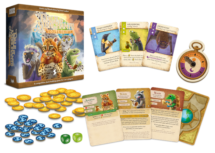 A stand-alone deck building game and a storage solution for the Dale of Merchants series. Great for fans and newcomers alike.