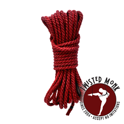 Two lengths of crimson hemp can be had with the book in the Rope Lover supporter package