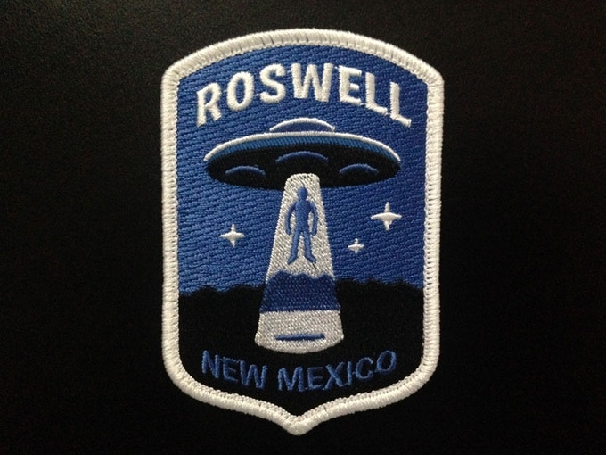 """""""Roswell"""" Alien UFO abduction embroidered patch"""