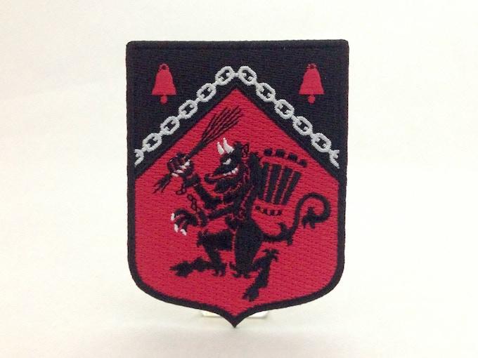 """Krampus Rampant"" Medieval heraldic embroidered patch"