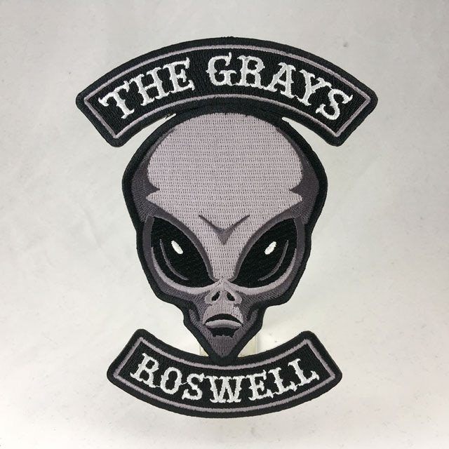 """The Grays"" alien motorcycle club embroidered patch"