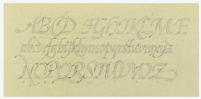 Sketch for italic alphabet in Pen and Graver. Cary Library, RIT