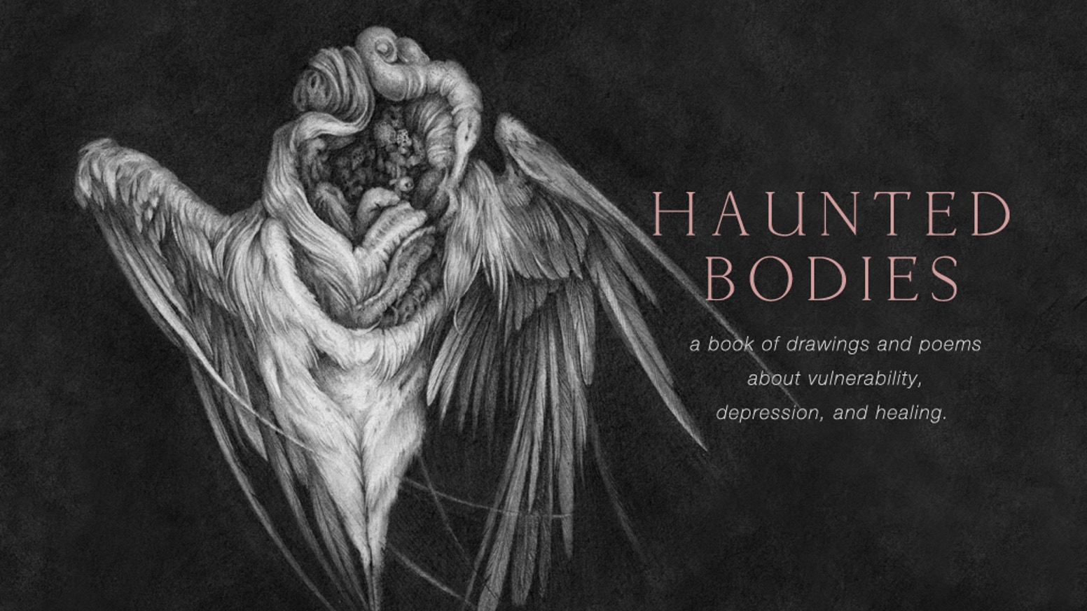 A hardcover collection of vulnerable drawings and poetry about depression and healing, drawn and written by artist Christina Mrozik.