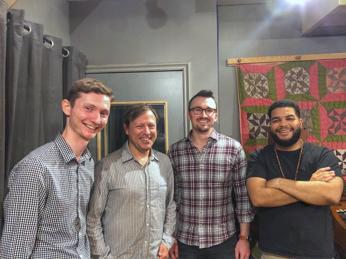 Recording with Chris Potter (left to right Marty Jaffe, Chris Potter, Dave Meder, Kush Abadey)