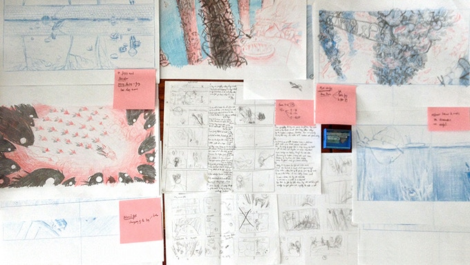 Sketches & Story Board to figure out the world of The Boy and The Toad