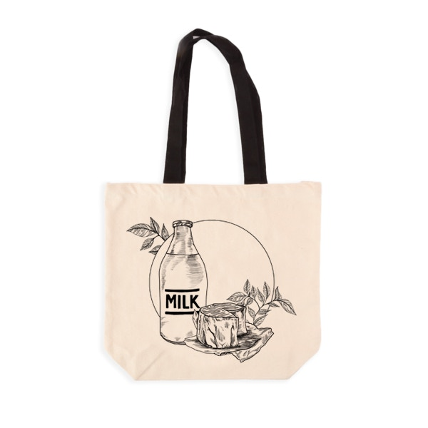Milk and Dairy Grocery Tote Mock-Up