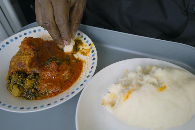 Egusi, Fish & Iyan (Pounded Yam) @ Bola Cuisine, S. London (Nigerian)