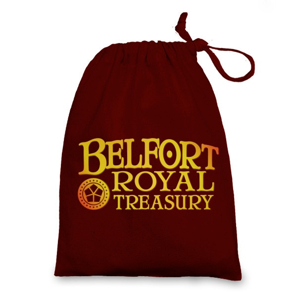 This warm and snuggly bag will be included with every pledge containing the Belfort Metal Coins! (Color and design not final)