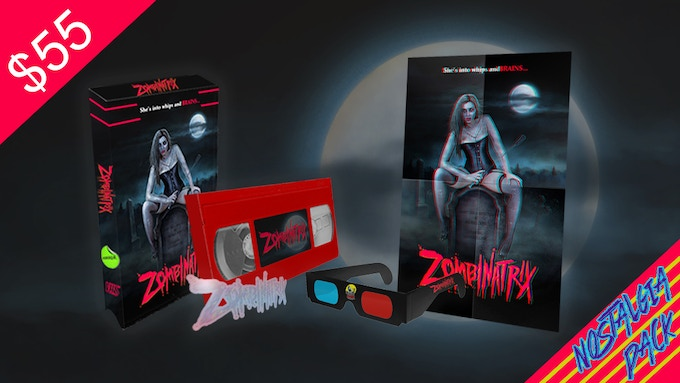 ZOMBINATRIX Nostalgia Pack! Includes a full-color VHS box, blood red VHS tape, 11 x 17 3D poster, custom 3D glasses, and a holographic sticker!  (Limited to 50)