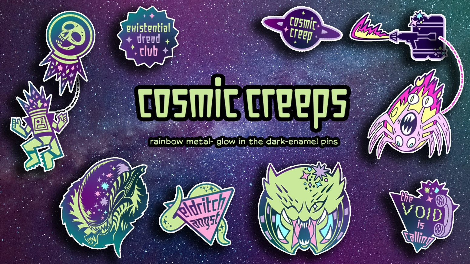 the sale of shoes incredible prices store Cosmic Creeps Enamel Pins by Kat Hudson Art — Kickstarter