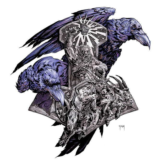 Thor's Hammer with Odin's Ravens ink drawing