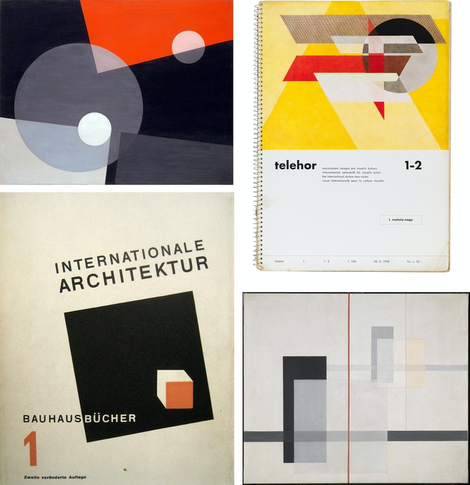 Top left to bottom right by László Moholy-Nagy: AM 7 , 1926, Cover of Telehor 1, 1-2, 1936, Bauhaus Books – Vol. 1, 1925, K VII, 1922