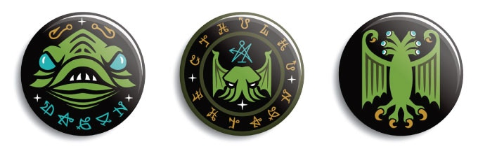 Lovecraft buttons designs: Dagon, Cthulhu & Elder Thing. Available with pin-back or magnet back.
