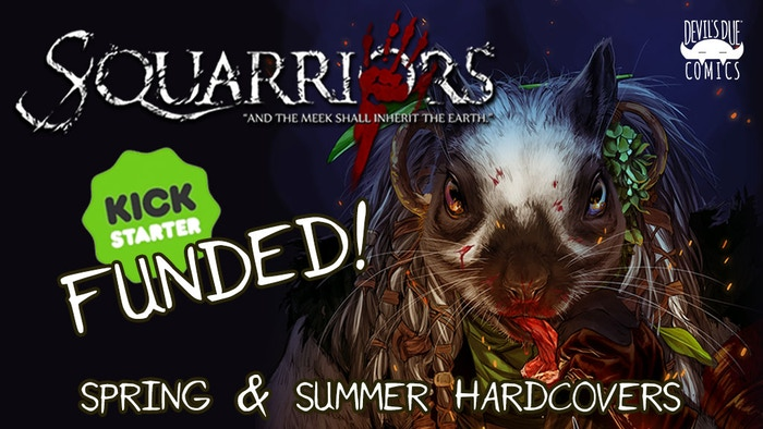 Squarriors Vol. 1 and Upcoming Vol. 2 collected in individual Kickstarter Oversize hardcovers, TPBs, new game cards & Enamel Pins!