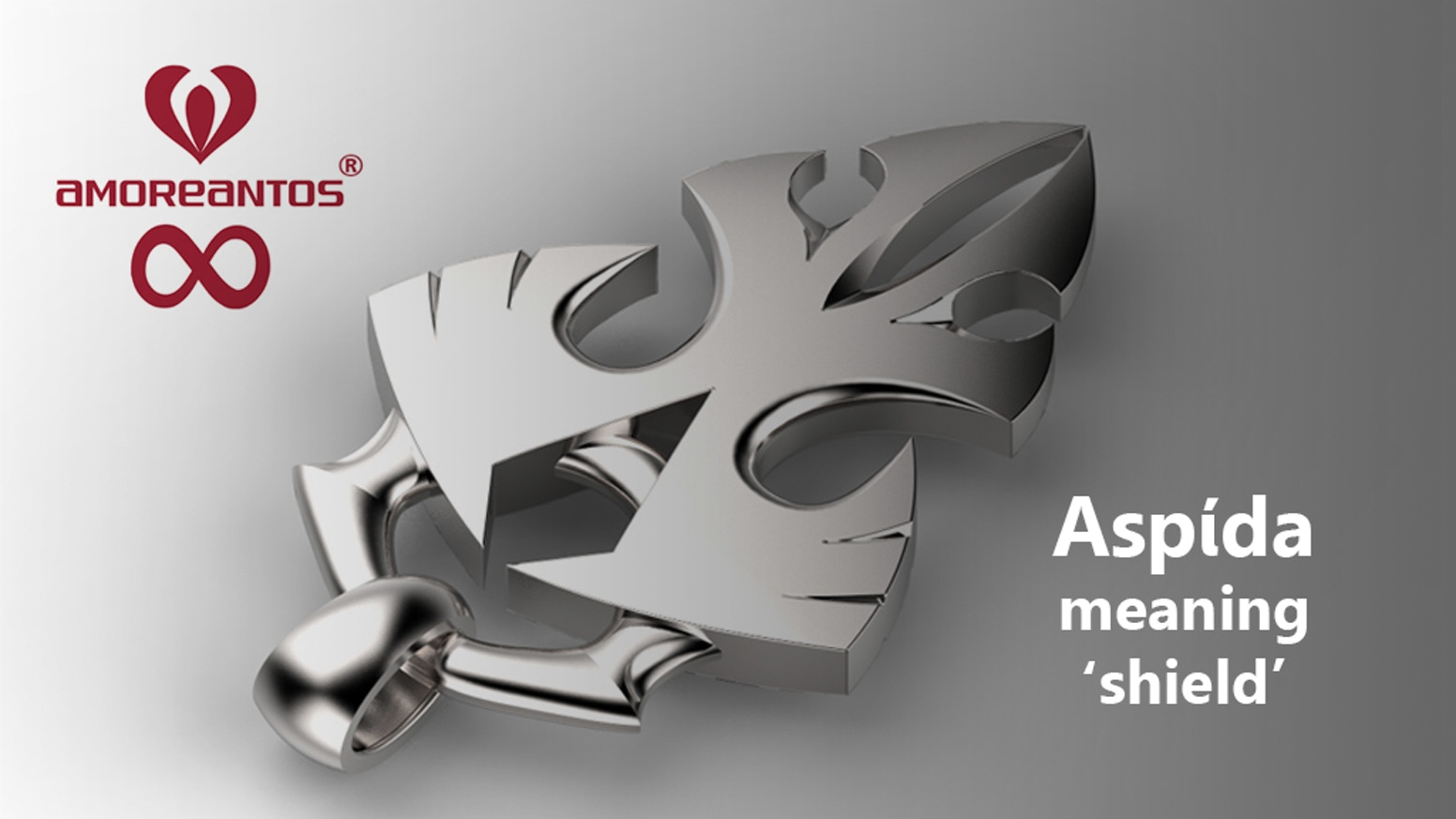 Edgy silver Aspίda pendant design meaning 'shield' by Amoreantos - Designers of futuristic jewellery for spirits untamed.