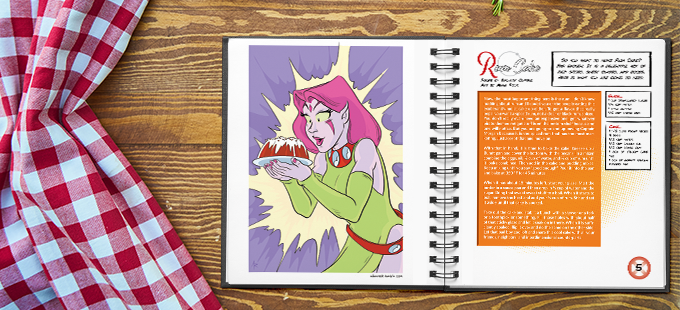 An example of the layout for the book. Art by Adam Reck, Recipe by Zachary Jenkins. (For preview purposes only, final layout subject to change!)