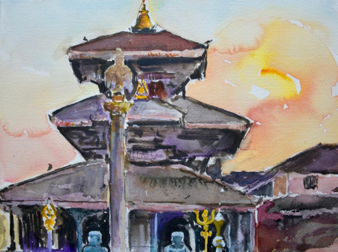 Nepalese Temple; an original watercolor by Harnam Available as a Reward